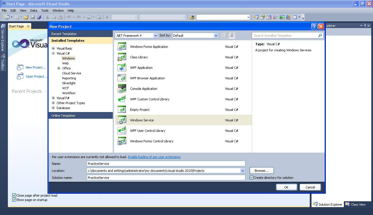 how to create windows service in visual studio 2013