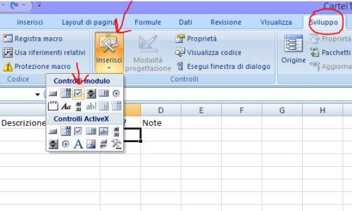 Creare una casella checkbox, o casella di spunta, in Excel